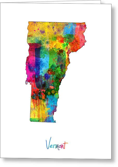 Cartography Digital Greeting Cards - Vermont Map Greeting Card by Michael Tompsett