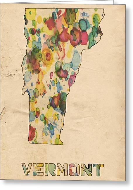 Vintage Map Digital Art Greeting Cards - Vermont Map Vintage Watercolor Greeting Card by Florian Rodarte