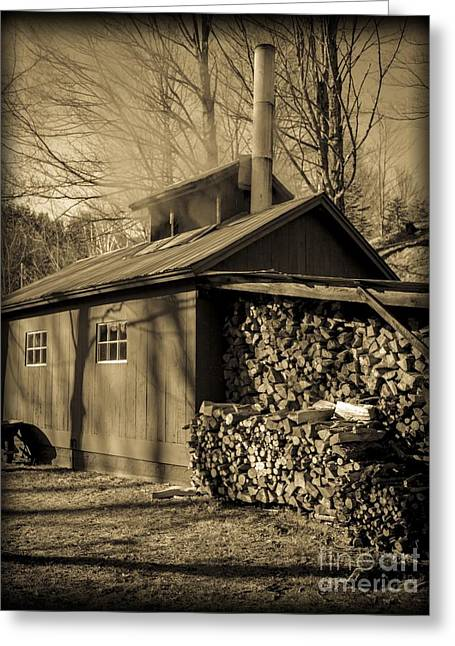 Sugaring Season Greeting Cards - Vermont Maple Sugar Shack circa 1954 Greeting Card by Edward Fielding