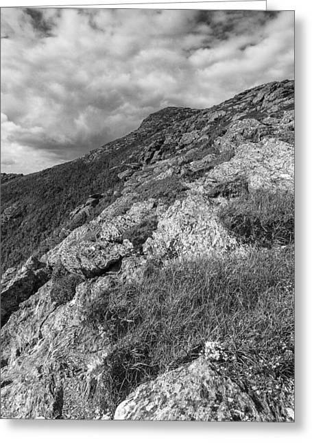 Vermont Landscapes Greeting Cards - Vermont-Mount Mansfield Summit-Black and White Greeting Card by Andy Gimino