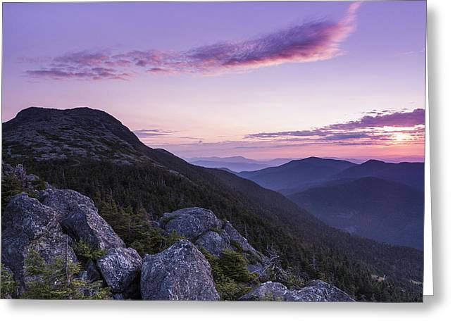 Best Sellers -  - Woodland Scenes Greeting Cards - Vermont Mount Mansfield sunrise Green Mountains Greeting Card by Andy Gimino