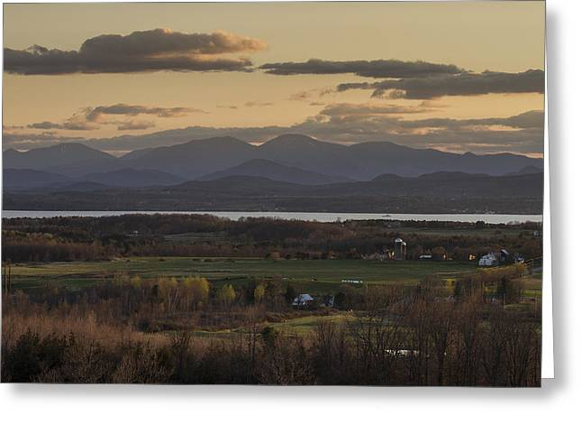 Champlain Greeting Cards - Vermont New York Sunset Lake Champlain Mountains Greeting Card by Andy Gimino