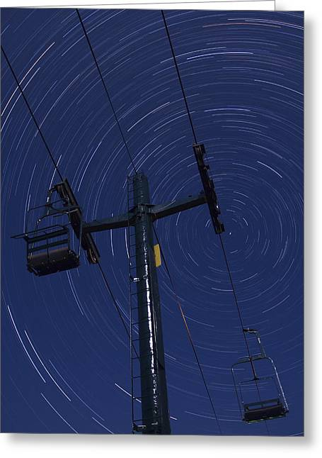 Nature Scene Greeting Cards - Vermont night sky skiing star trails Greeting Card by Andy Gimino