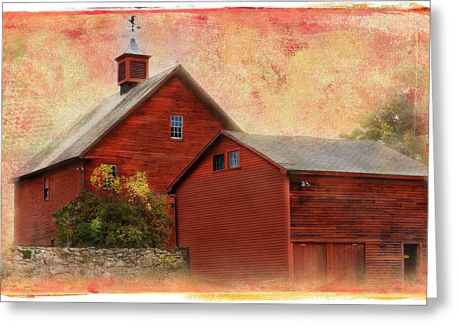 Weathervane Digital Art Greeting Cards - Vermont Red Barn Greeting Card by Melinda Dreyer