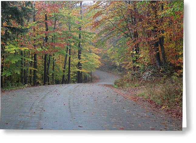 Grafton Vermont Greeting Cards - Vermont road on rainy fall day Greeting Card by Vance Bell
