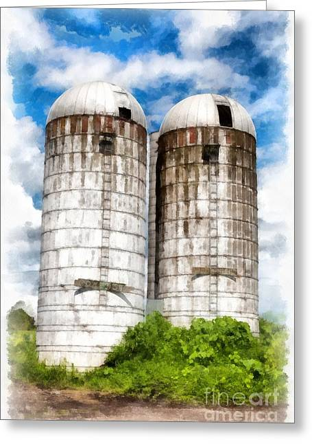 Silo Greeting Cards - Vermont Silos Greeting Card by Edward Fielding