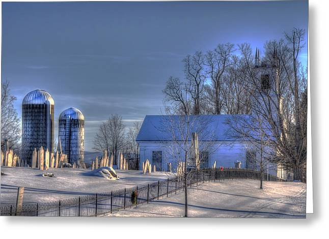 New England Snow Scene Greeting Cards - Vermont Snow Scene Greeting Card by Joann Vitali