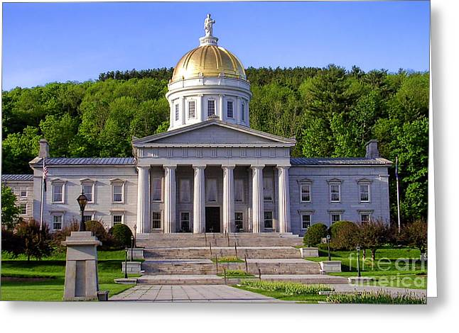 Capitol Greeting Cards - Vermont State Capitol in Montpelier  Greeting Card by Olivier Le Queinec