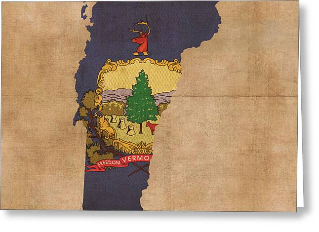 Background Mixed Media Greeting Cards - Vermont State Flag Map Outline With Founding Date On Worn Parchment Background Greeting Card by Design Turnpike