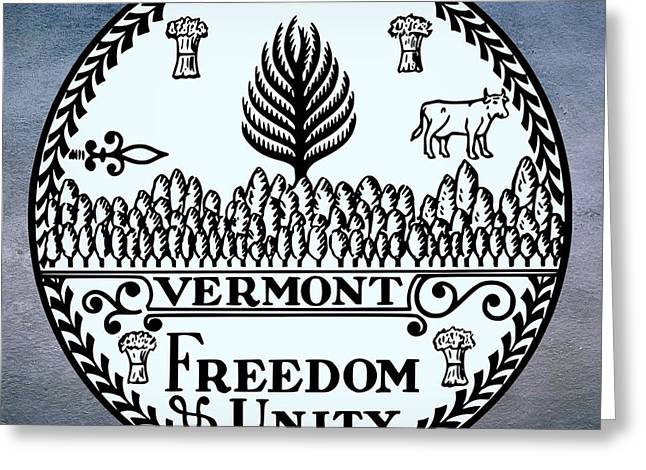 Union Connecticut Greeting Cards - Vermont State Seal Greeting Card by Movie Poster Prints