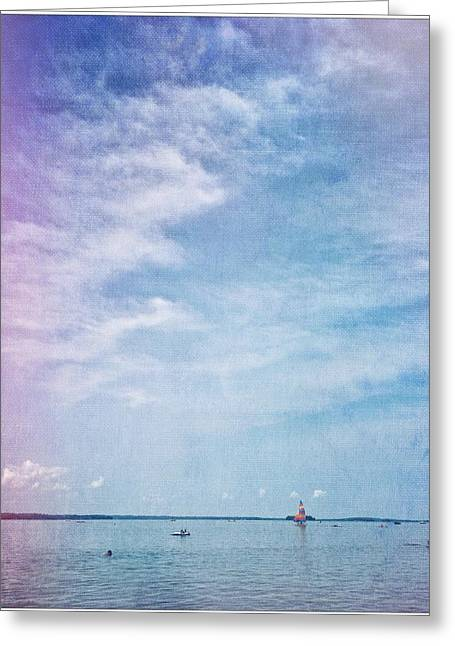 Champlain Greeting Cards - Vermont Summer beach boats clouds Greeting Card by Andy Gimino