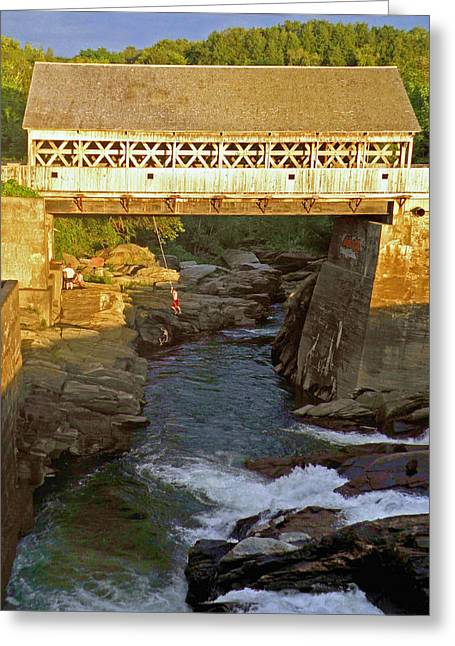 Covered Bridge Greeting Cards - Vermont Swimming Hole Greeting Card by Jean Hall