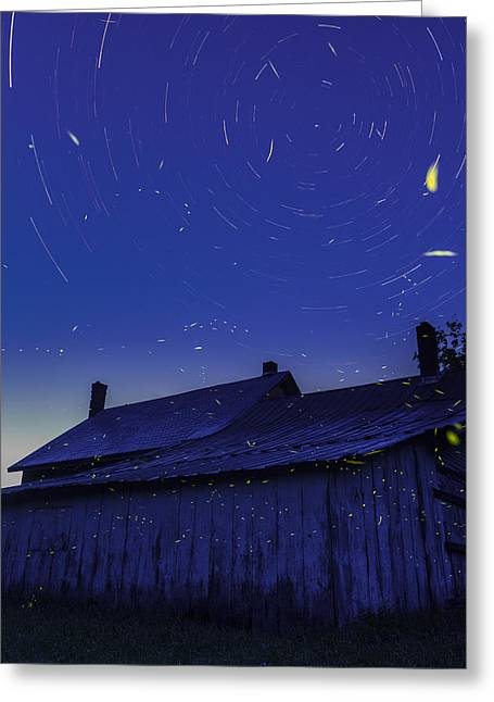 Sunset Abstract Photographs Greeting Cards - Vermont twilight blue hour farmhouse startrails fireflies Greeting Card by Andy Gimino