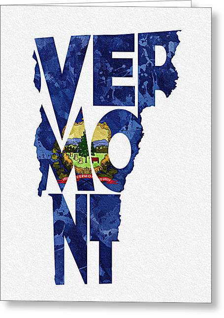 Homeland Greeting Cards - Vermont Typographic Map Flag Greeting Card by Ayse Deniz