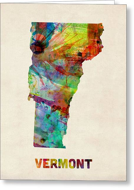 Cartography Digital Greeting Cards - Vermont Watercolor Map Greeting Card by Michael Tompsett