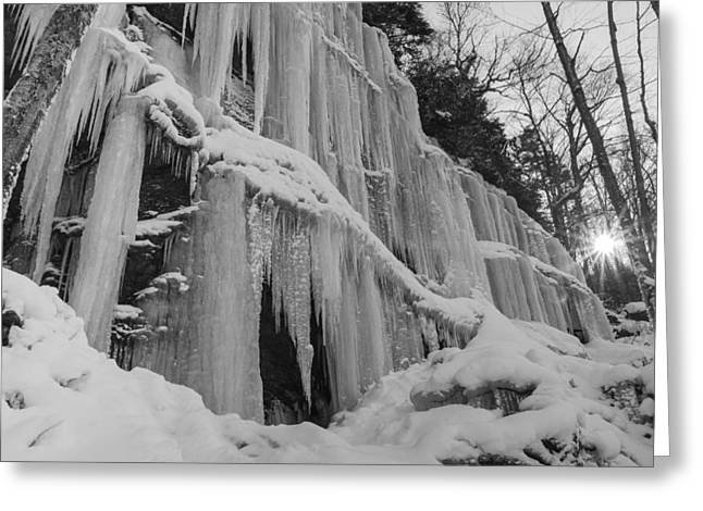 New England Snow Scene Greeting Cards - Vermont waterfall ice black and white forest Greeting Card by Andy Gimino