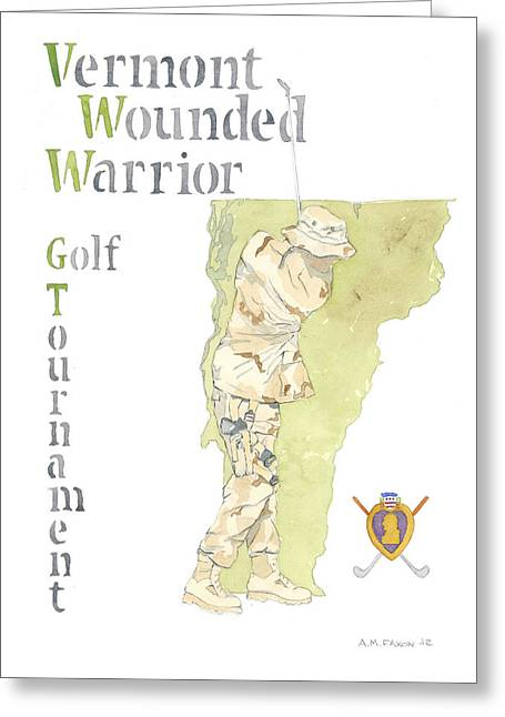 Grunts Paintings Greeting Cards - Vermont Wounded Warrior Golf Tournament Greeting Card by Al Faxon