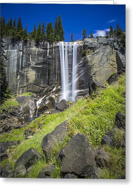 Mike Lee Greeting Cards - Vernal Falls in July at Yosemite Greeting Card by Mike Lee