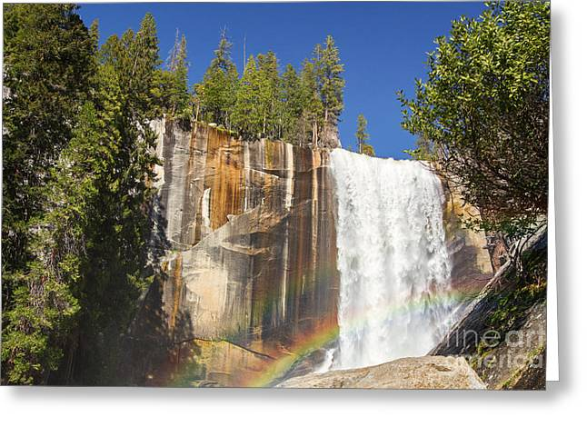 Vernal Greeting Cards - Vernal falls rainbow Greeting Card by Jane Rix