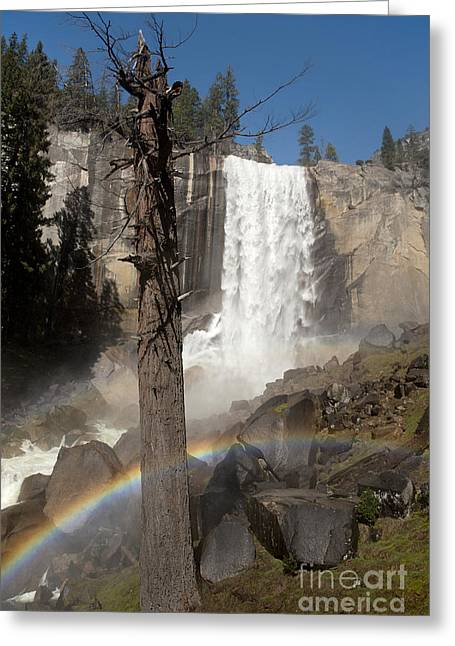 Vernal Greeting Cards - Vernal Falls with rainbow Greeting Card by Jane Rix