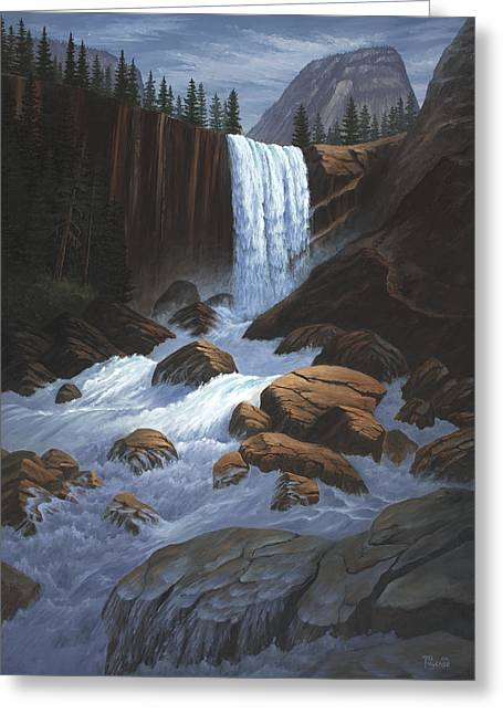 Vernal Greeting Cards - Vernal Falls Yosemite  Greeting Card by Del Malonee