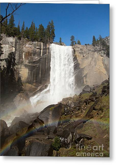 Rock Spring Trail Greeting Cards - Vernal Falls Yosemite Greeting Card by Jane Rix