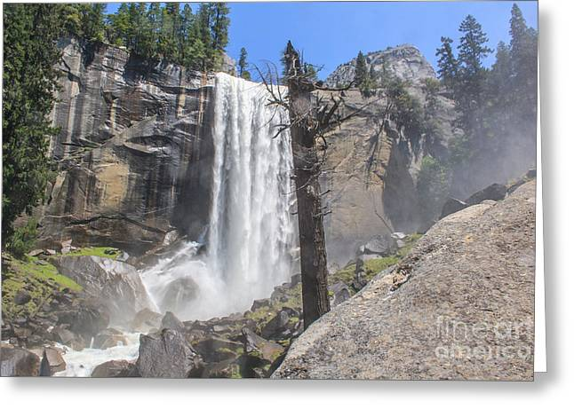 Shower Curtain Greeting Cards - Vernal Upper Fall Yosemite NP Greeting Card by  ILONA ANITA TIGGES - GOETZE  ART and Photography
