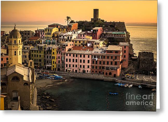 Italian Seascape Greeting Cards - Vernazza at Sunset Greeting Card by Prints of Italy