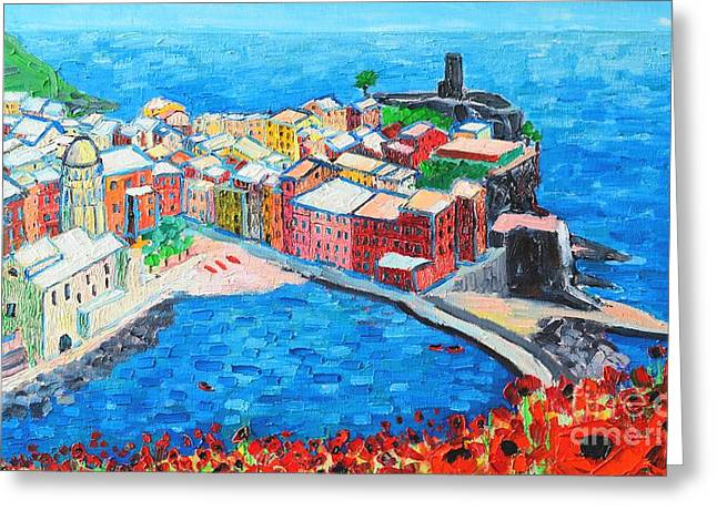 The Hills Greeting Cards - Vernazza Cinque Terre Italy Painting Detail Greeting Card by Ana Maria Edulescu