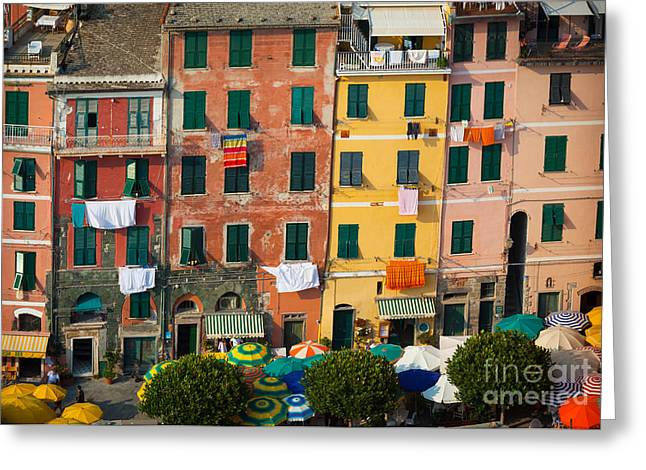 Cinque Terre Greeting Cards - Vernazza Facades Greeting Card by Inge Johnsson