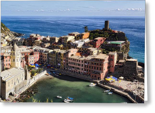 Boats In Harbor Greeting Cards - Vernazza from Above Greeting Card by George Oze
