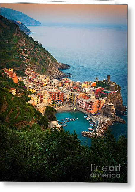 Mediterranean Landscape Photographs Greeting Cards - Vernazza from above Greeting Card by Inge Johnsson