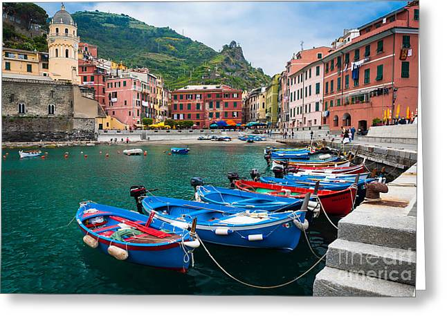 Port Town Greeting Cards - Vernazza Harbor Greeting Card by Inge Johnsson
