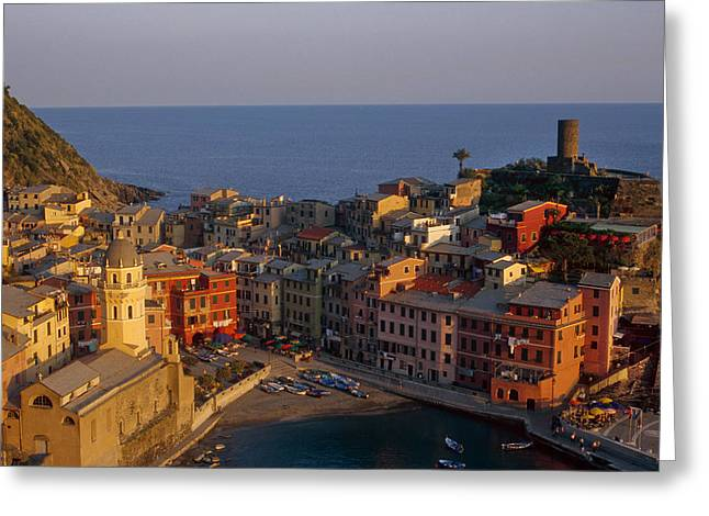 Mediterranean Landscape Greeting Cards - Vernazza in the Evening Greeting Card by Andrew Soundarajan