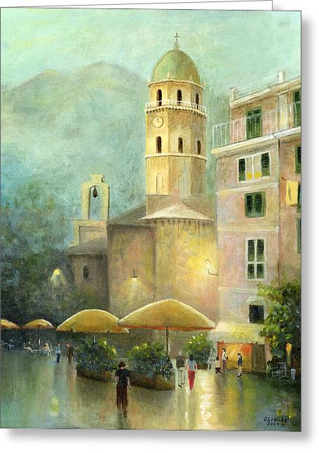 Technical Paintings Greeting Cards - Vernazza Italy Greeting Card by Cecilia  Brendel
