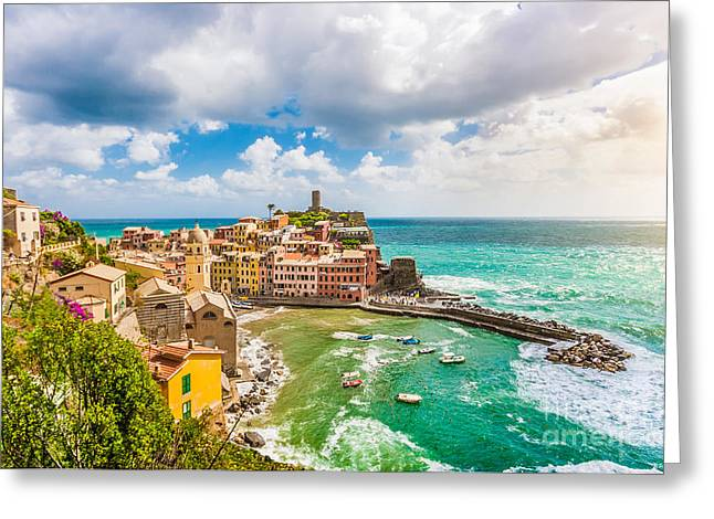 Monterosso Greeting Cards - Vernazza Greeting Card by JR Photography