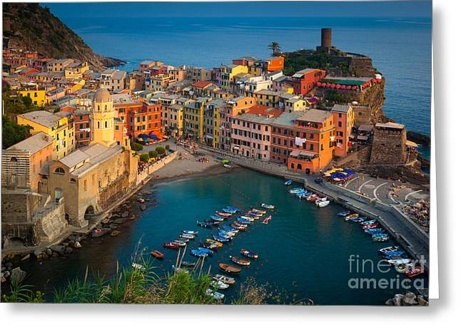 Italian Sunset Greeting Cards - Vernazza Pomeriggio Greeting Card by Inge Johnsson