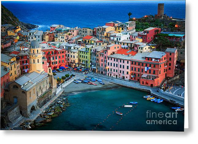Picturesque Greeting Cards - Vernazza Sera Greeting Card by Inge Johnsson