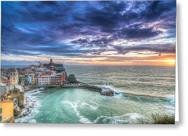 Italian Sunset Greeting Cards - Vernazza Sunset in Cinque Terre Italy  Greeting Card by Nick Jackson