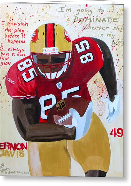 49ers Paintings Greeting Cards - Vernon Davis 49ers Greeting Card by Artistic Indian Nurse