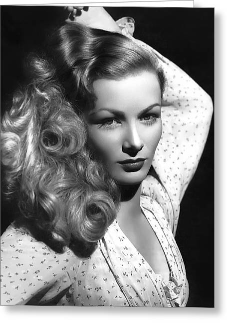 Leading Lady Greeting Cards - Veronica Lake Actress Greeting Card by Daniel Hagerman