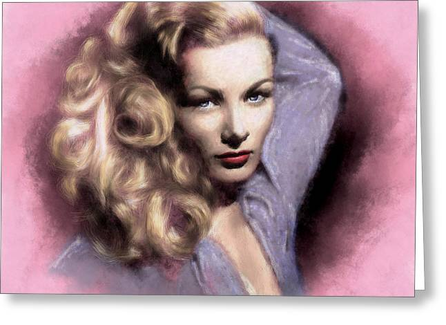 Legend Greeting Cards - Veronica Lake Greeting Card by Arne Hansen