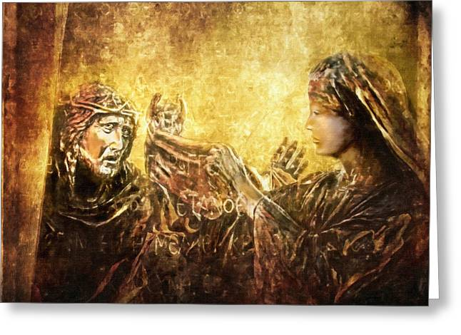 Lianne Schneider Greeting Cards - Veronica Wipes His Face Via Dolorosa 6 Greeting Card by Lianne Schneider