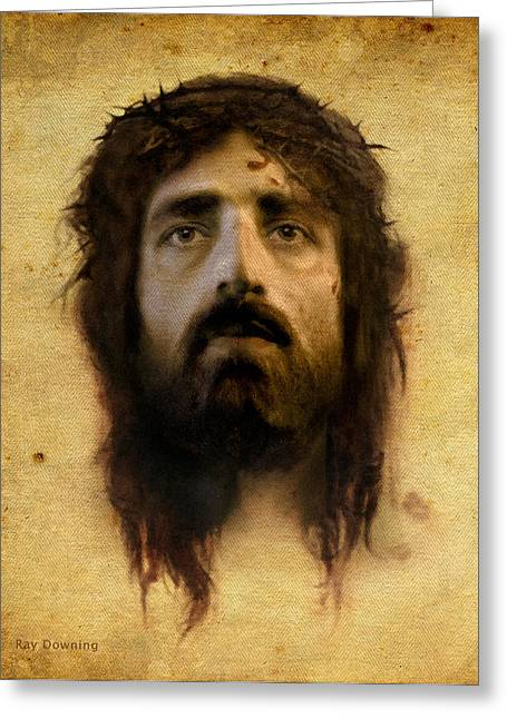 Jesus Christ Images Digital Art Greeting Cards - Veronicas Veil Greeting Card by Ray Downing