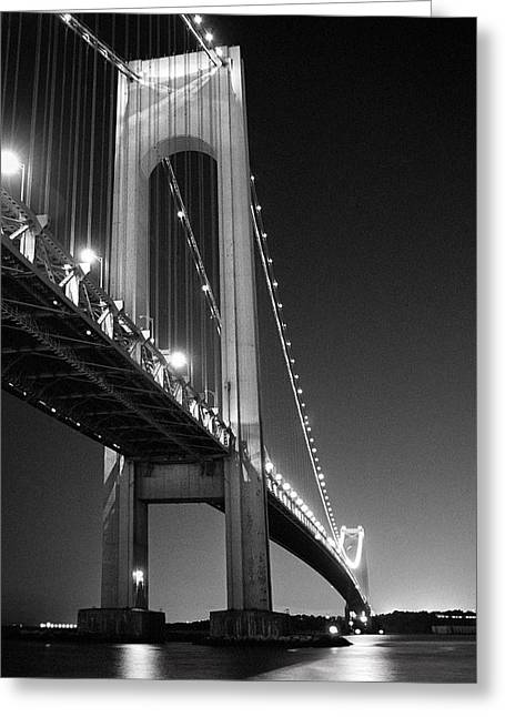 Landmark And Bridges Greeting Cards - Verrazano Bridge at night - Black and White Greeting Card by Gary Heller