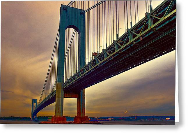 Dumbo Greeting Cards - The Verrazano - Narrows Bridge Greeting Card by Louis Dallara