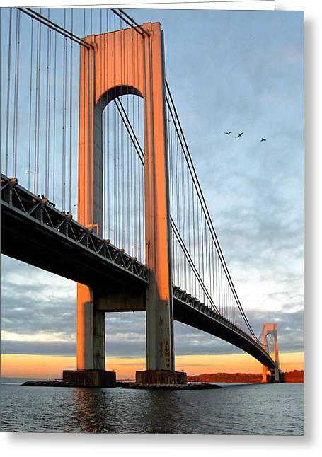 Gary Heller Greeting Cards - Verrazano Bridge at Sunrise - Verrazano Narrows Greeting Card by Gary Heller
