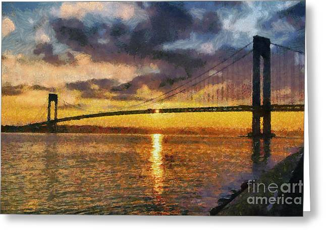Recently Sold -  - Sunset Framed Prints Greeting Cards - Verrazano bridge during sunset Greeting Card by George Atsametakis