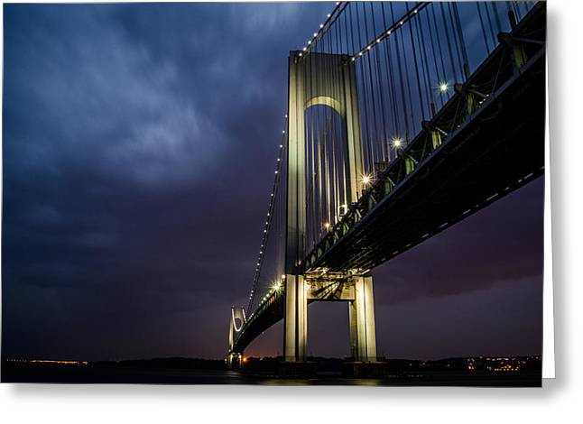 Narrow Greeting Cards - Verrazano-Narrows Bridge Greeting Card by Johnny Lam