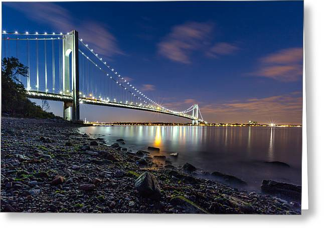 Beach At Night Greeting Cards - Verrazano-Narrows Bridge  Greeting Card by Valeriy Shvetsov
